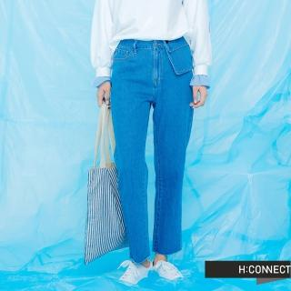 【H:CONNECT】韓國品牌 女裝 -大口袋造型直筒牛仔褲(藍色)