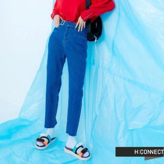 【H:CONNECT】韓國品牌 女裝 -不規則皮帶褲頭牛仔褲(藍色)