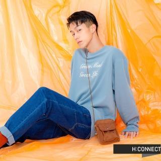 【H:CONNECT】韓國品牌 男裝 -草寫標語圓領上衣(藍色)