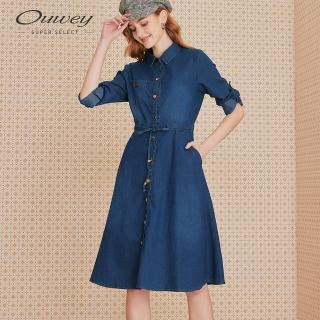 【OUWEY 歐薇】百搭修身收腰長版牛仔洋裝(藍)