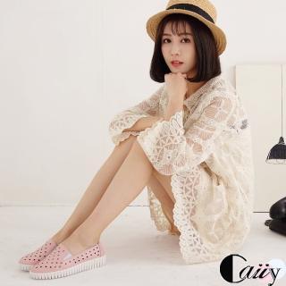 【Caiiy】真皮鏤空質感透氣蹦帶懶人鞋 BF12(粉色/白色/黑色)