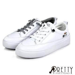 【Pretty】素面彈性鬆緊帶平底休閒鞋/小白鞋(白色、灰色)