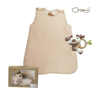 【Oragnic】有機棉超值2件式禮盒-條紋防踢被+小鹿手握鈴/嬰兒防踢被禮盒(禮盒裝)