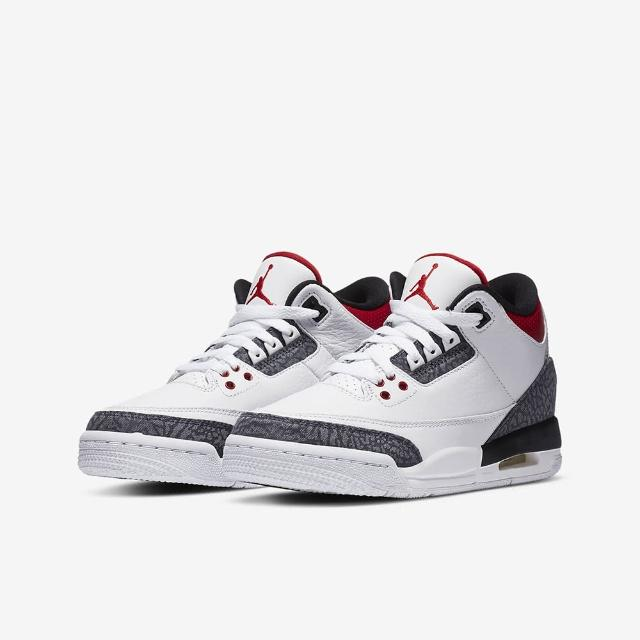 【NIKE 耐吉】AIR JORDAN 3 RETRO SE GS FIRE RED DENIM 單寧 皮革 大童鞋 女鞋(CZ6634-100)