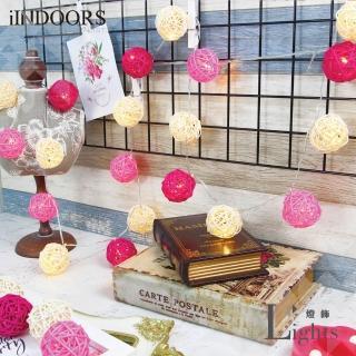【iINDOORS】英倫家居 粉紅桃花 LED籐球燈串(20顆藤球)