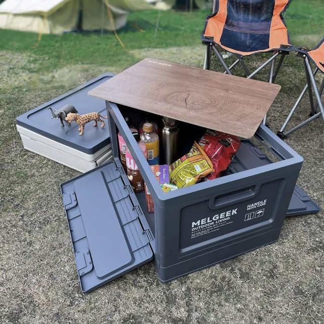 【AOTTO】45L日式無印風大容量附蓋折疊收納箱-2入組(多功能置物箱