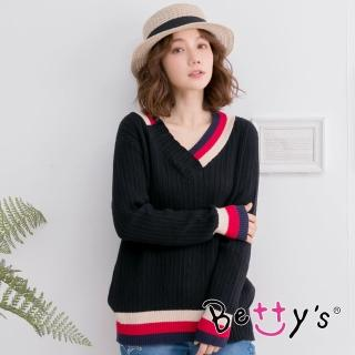 【betty's 貝蒂思】保暖款V領配色毛衣(黑色)