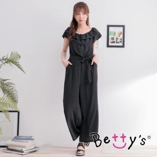 【betty's 貝蒂思】荷葉一字領收腰連身褲裝(黑色)