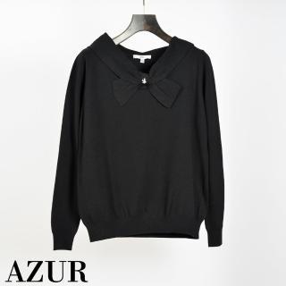 【AZUR】甜美風格領口造型針織上衣