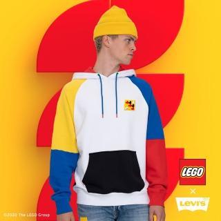 【LEVIS】X LEGO 男款 重磅口袋帽T / 寬鬆休閒版型 / 樂高積木通用軟墊 / 附限定版積木 / 樂高色塊拼接