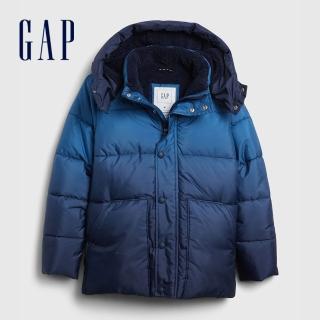 【GAP】男童 保暖舒適絎縫工藝連帽麵包服(592736-藍色漸變)