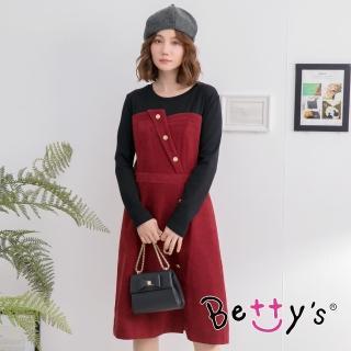 【betty's 貝蒂思】飾釦拼色長洋裝(暗紅)