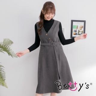 【betty's 貝蒂思】無袖立領長袖兩件式洋裝(深灰)