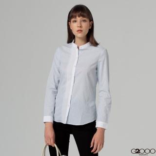 【G2000】條紋長袖上班襯衫-藍色(0124001772)