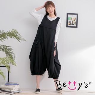 【betty's 貝蒂思】設計感棉麻長洋裝(黑色)