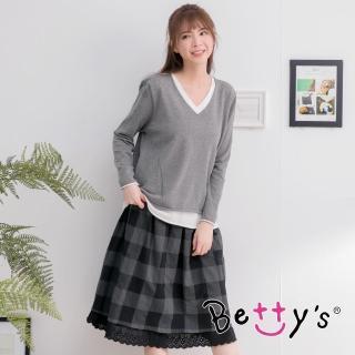【betty's 貝蒂思】V領上衣+格紋裙套裝(灰色)