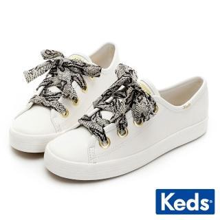 【Keds】KICKSTART 奢華蛇紋綁帶皮革休閒鞋(奶油白)