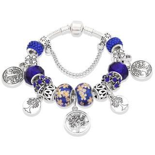 【Jpqueen】愛的生命樹琉璃串珠DIY古銀手鍊(5色各4種尺寸可選)