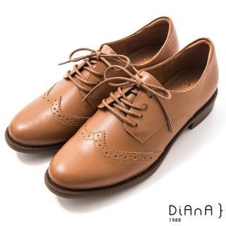 【DIANA】3cm 擦色牛皮雕花率性圓尖頭綁帶牛津鞋–漫步雲端焦糖美人(麥芽棕)