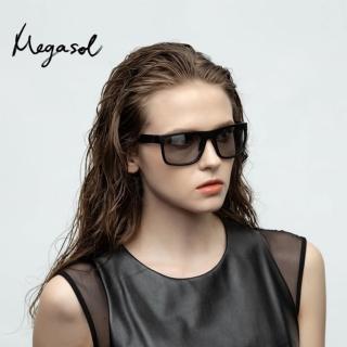 【MEGASOL】UV400智能感光變色偏光太陽眼鏡男女適用(日夜全天候適用運動眼鏡SB1053)
