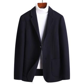 【米蘭精品】毛呢外套羊毛西裝(純色簡約休閒大口袋男外套4色73yu9)