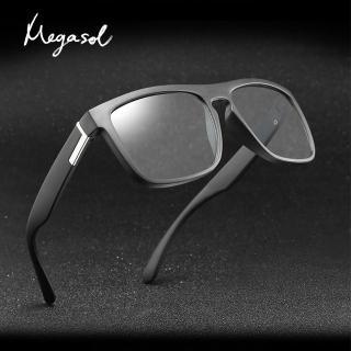 【MEGASOL】UV400智能感光變色偏光經典太陽眼鏡(日夜全天候適用運動眼鏡SB1055)