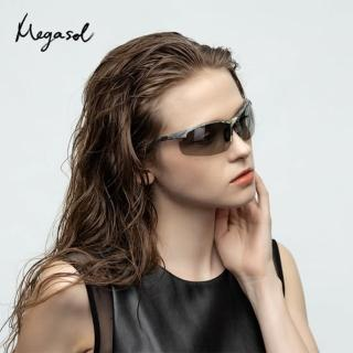 【MEGASOL】UV400智能感光變色偏光太陽眼鏡(全天候適用運動眼鏡SB1048)