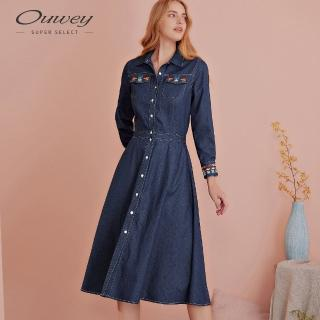 【OUWEY 歐薇】民俗感刺繡仿牛仔長版洋裝(藍)
