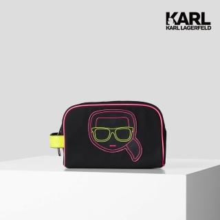 【KARL LAGERFELD 卡爾】IKONIK霓虹盥洗包-黑(原廠公司貨)