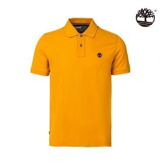 【Timberland】男款深起司橘刺繡標誌短袖POLO衫(A2EGR804)