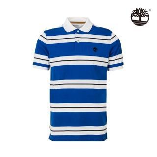 【Timberland】男款海洋藍米爾斯河條紋棉質短袖POLO衫(A2EHEI55)