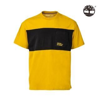【Timberland】男款小麥黃穆斯河拚色有機棉抗菌短袖圓領T恤(A2EKW311)