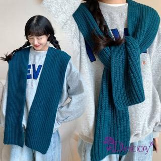 【Decoy】學院背心*針織保暖披肩式脖圍巾