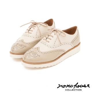 【nono house】英倫紳士雕花真皮牛津鞋(米)