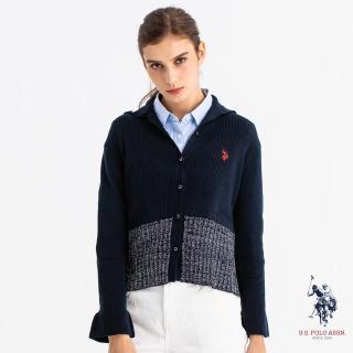 【U.S. POLO ASSN.】高領全開鈕扣針織衫(針織衫 藏藍色 高領)