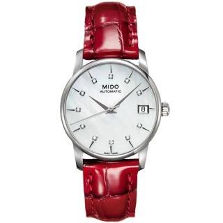 【MIDO 美度】BARONCELLI永恆系列珍珠母貝真鑽機械錶-33mm(M0072071610600)