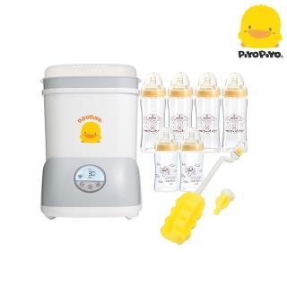 【Piyo Piyo 黃色小鴨】微電腦觸控式烘乾消毒鍋+寬口徑葫蘆晶鑽奶瓶組合(180*2+280*4)+奶瓶刷*1