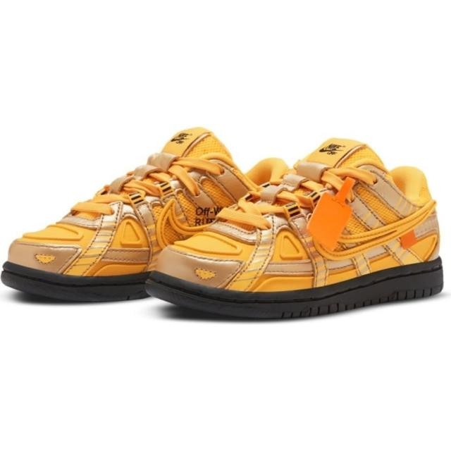 【NIKE 耐吉】RUBBER DUNK OW PS UNIVERSITY GOLD OFF WHITE限量聯名 亞洲限定 黃色 童鞋(CW7410-700)