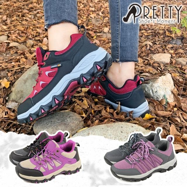 【Pretty】女款防潑水透氣網布反光拼接綁帶運動休閒鞋/登山鞋(紅色、黑色)/