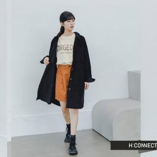 【H:CONNECT】韓國品牌 女裝 -長版燈芯絨連帽襯衫洋裝(黑色)