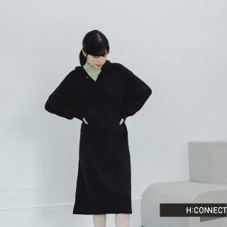 【H:CONNECT】韓國品牌 女裝 -長版連帽針織毛衣洋裝(黑色)