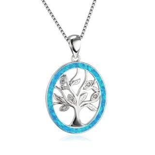 【RJ New York】個性化生命樹圓形鋯石項鍊(藍色)