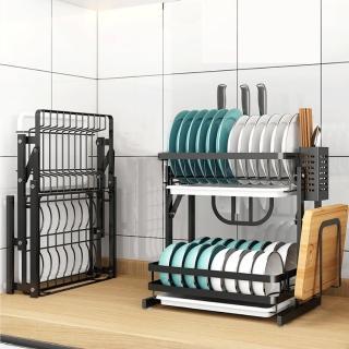 【慢慢家居】免組裝-不鏽鋼雙層可折疊碗盤瀝水架(大全配)