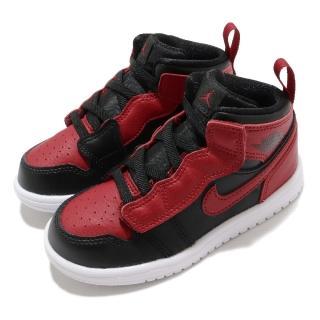 【NIKE 耐吉】休閒鞋 Jordan 1 Mid ALT 童鞋 喬丹 魔鬼氈 舒適 皮革 輕便 小童 黑 紅(AR6352-074)