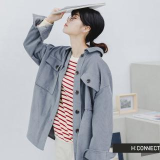 【H:CONNECT】韓國品牌 女裝 -質感燈芯絨排扣襯衫(藍綠色)