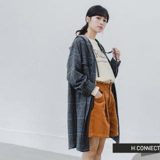 【H:CONNECT】韓國品牌 女裝 -格紋長版連帽襯衫外套(深藍色)