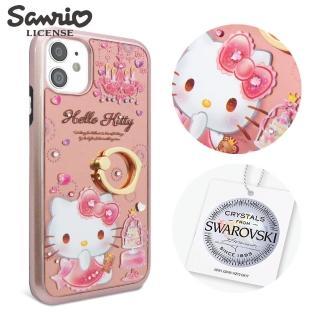 【apbs】三麗鷗 iPhone 12全系列 施華彩鑽全包鏡面指環扣手機殼-燭光凱蒂(12 Pro Max/12 Pro/12/12 mini)
