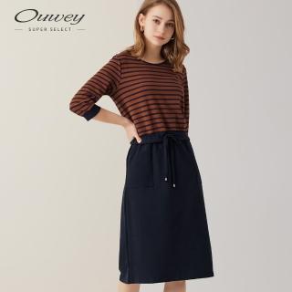 【OUWEY 歐薇】條紋假兩件純棉洋裝(黑/藍)