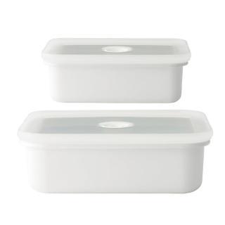 【FUJIHORO 富士琺瑯】Vido系列-真空琺瑯調理盒-淺型M+淺型L
