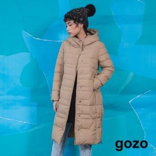 【gozo】率性連帽立領長版白鴨絨羽絨外套(兩色)